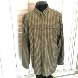 The North Face Green Plaid Long Tab Sleev Shirt XL